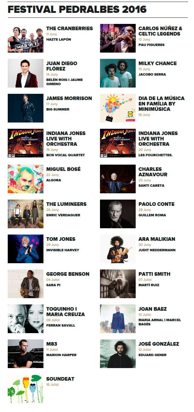 Festival Pedralbes Barcelona 2016 - Calendario
